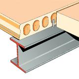 Пустотная плита устанавливается на балках, располагаемых обычно в осях колонн здания.  Интеграция балок в конструкцию...